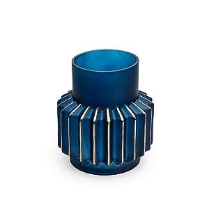 Black Velvet Studio Vaso Ocean Vetro, Color Blu e Oro. Stile Nordico 20x18x18 cm.