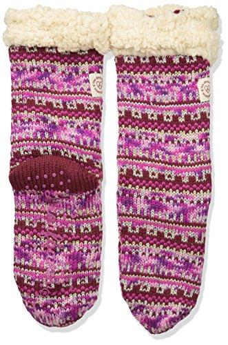 Dearfoams Fancy Fairisle RD2002W Sock Blizzard Cabernet Slipper Women's AfPqxABw6