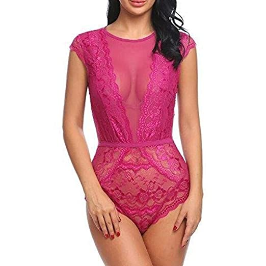 de25949c7 Amazon.com  Lace Underwear Sexy Open Front Passion Lingerie Backless Halter  Babydoll Nightwear G-String Dress  Clothing