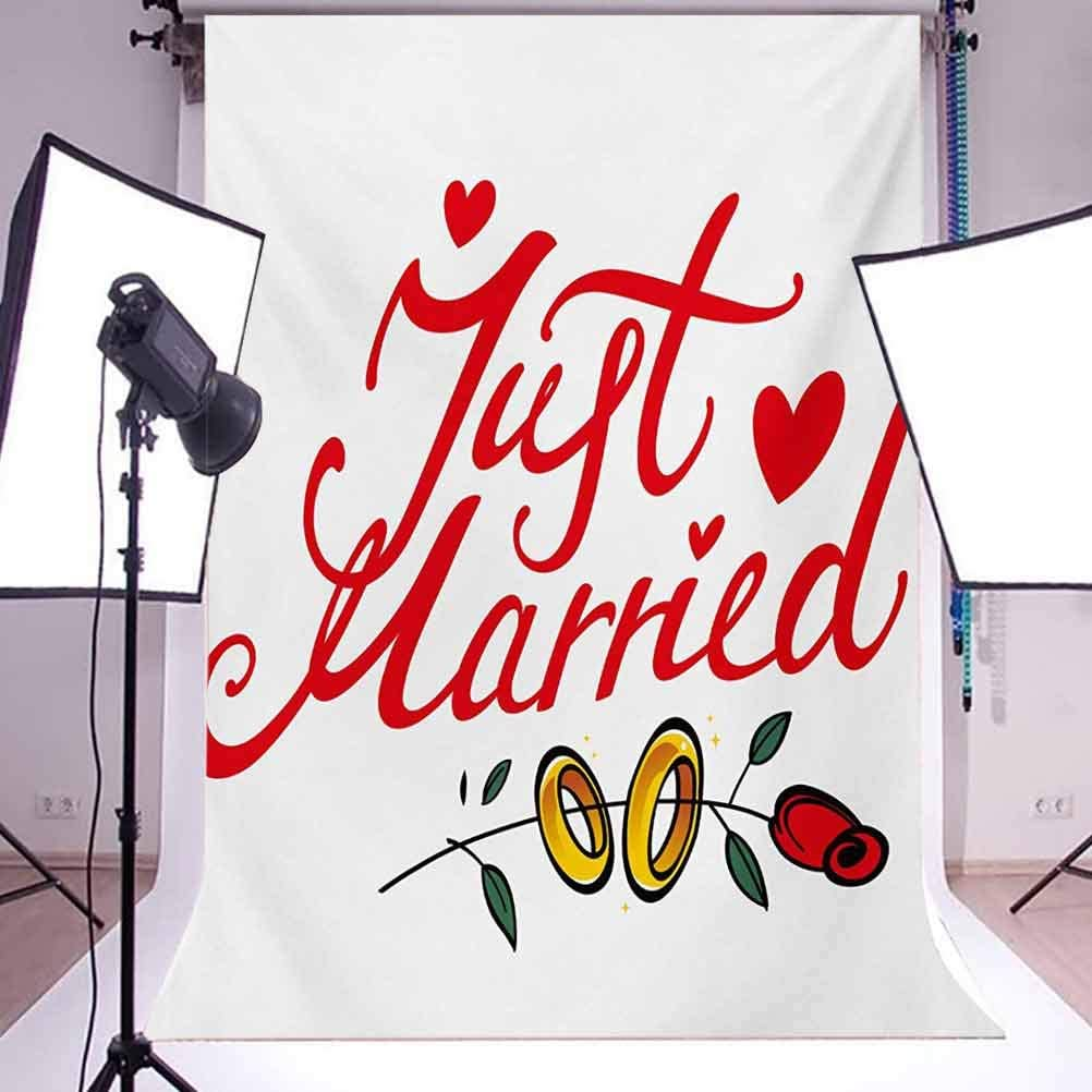 Wedding 10x12 FT Photo Backdrops,Just Married Hand Writing in Red and Rose with Wedding Rings Celebration Background for Photography Kids Adult Photo Booth Video Shoot Vinyl Studio Props