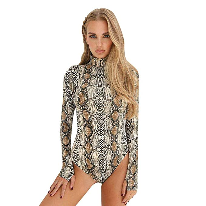 c04c146f18c9 Snake Skin Turtleneck Long Sleeve Bodysuit Sexy Bodycon Fashion Romper  Womens Jumpsuit Overall Knitted Combinaison (