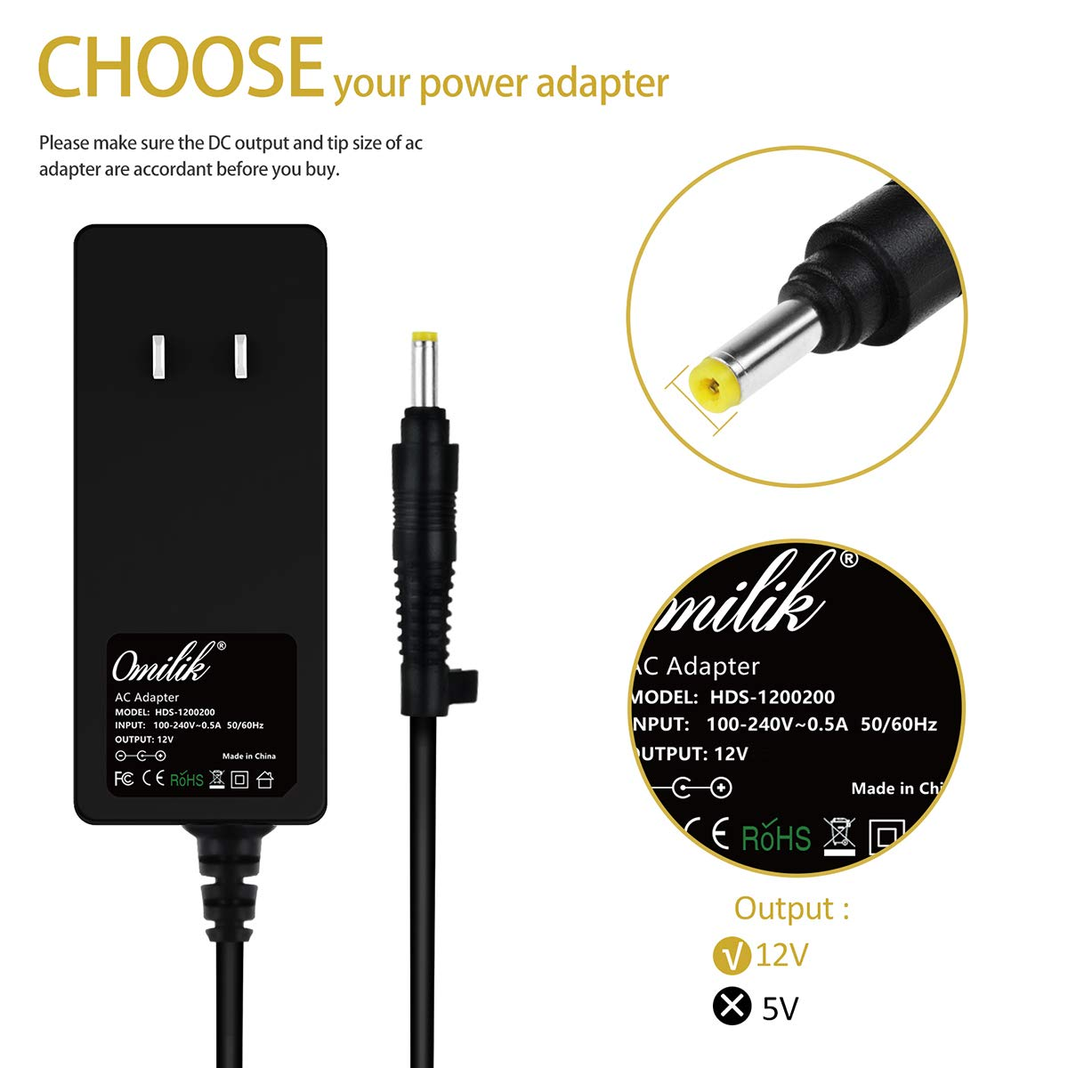 Amazon.com: Omilik - Adaptador de CA para cable de ...