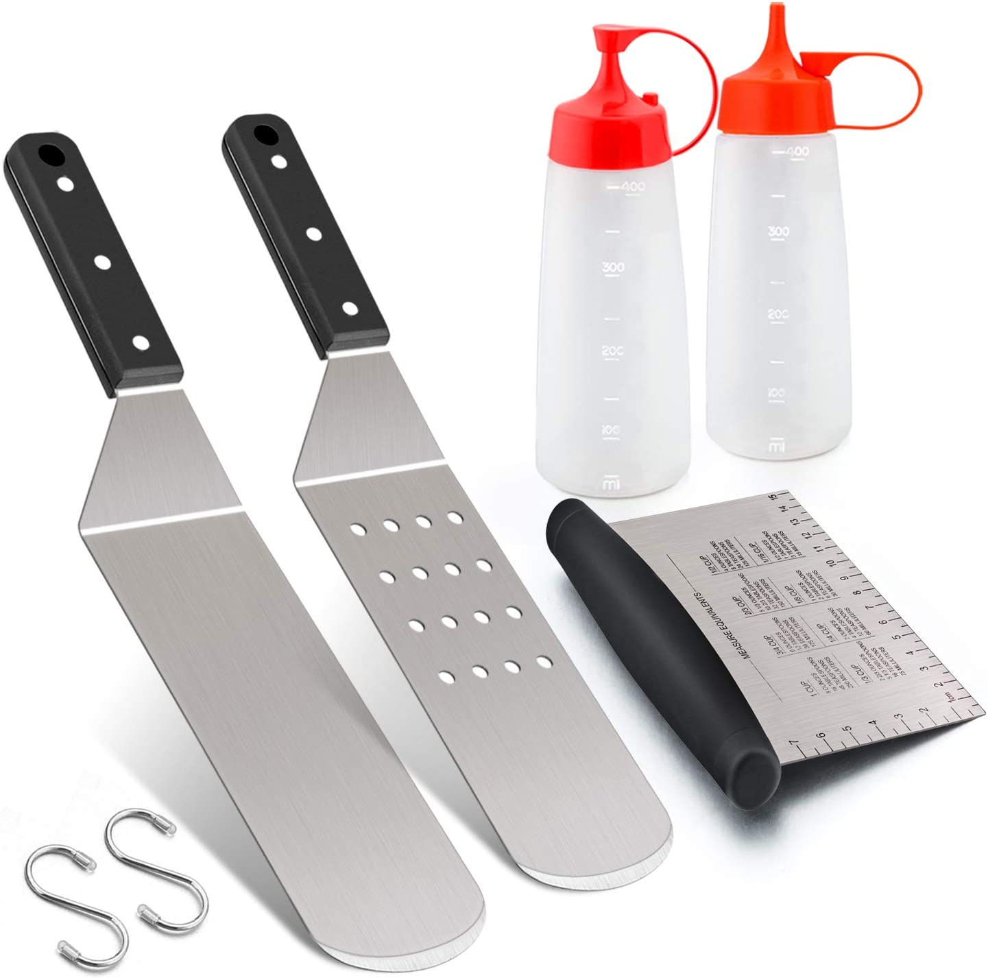 Heavy Duty Chef Gift Stainless Steel Grill Griddle Metal Spatula for Cast Iron Flat Top Teppanyaki Hibachi Cooking Carry Bag Leonyo Griddle Accessories Set of 10 Melting Dome Dishwasher Safe