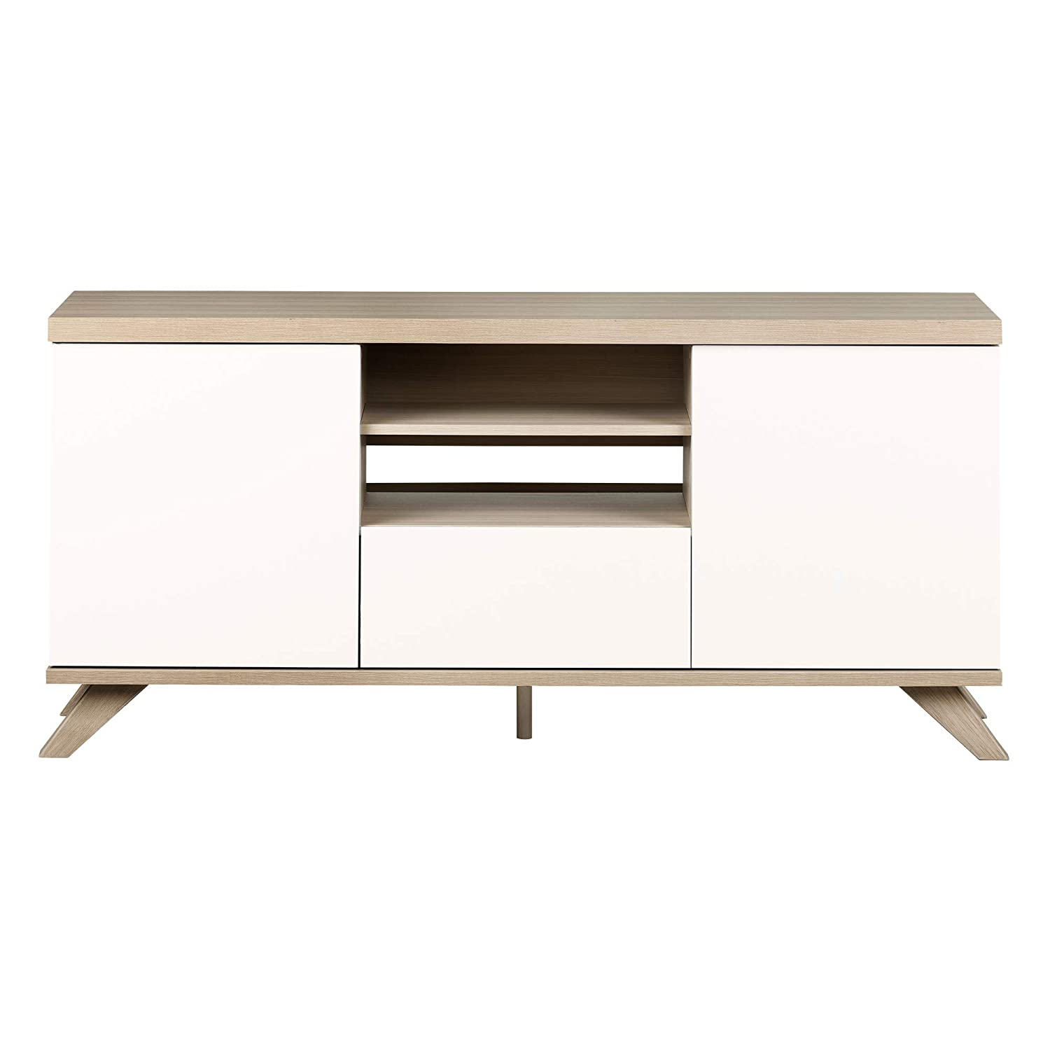 South Shore Cinati TV Stand with Drawer and Doors, Soft Elm and Pure White