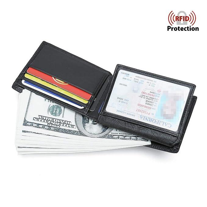 more photos b7ffb c03f2 Mens Leather Wallet RFID Blocking Slim Bifold With Flip Multi-Card Case  Holder ID Window