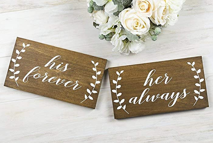 Amazon His Forever And Her Always Wedding Chair Signs Wedding