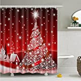 "Messagee Custom Home Decor Christmas Decoration Background Fabric Shower Curtain European Style Bathroom Curtain Waterproof 72""x72"" / 180 x 180cm(Blingbling Christmas Tree)"