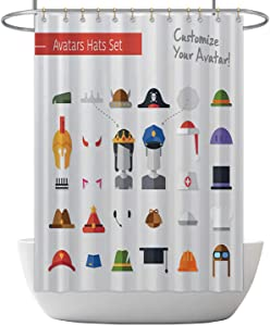 ALUONI Isolated Flat Design Hats and caps for Social Network Avatars Illustration Pilot,Shower Curtain Sherlock Holmes with Hooks 71x59inch