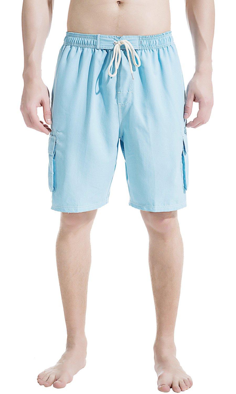 49e1fb49f8631 Galleon - Akula Men Swim Trunk Short Elastic Waist Solid Beach Wear With  Pockets Light Blue Size 2XL
