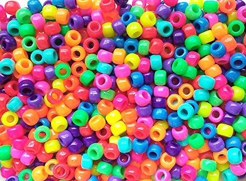 Brilliant Neon Rainbow Multicolor Mix Plastic Craft Pony Beads, 6 x 9mm, 500 Beads