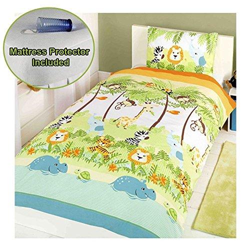 Protector Mattress Towelling (Jungle Boogie Junior/Toddler Duvet Cover & Pillowcase Set + Mattress Protector)