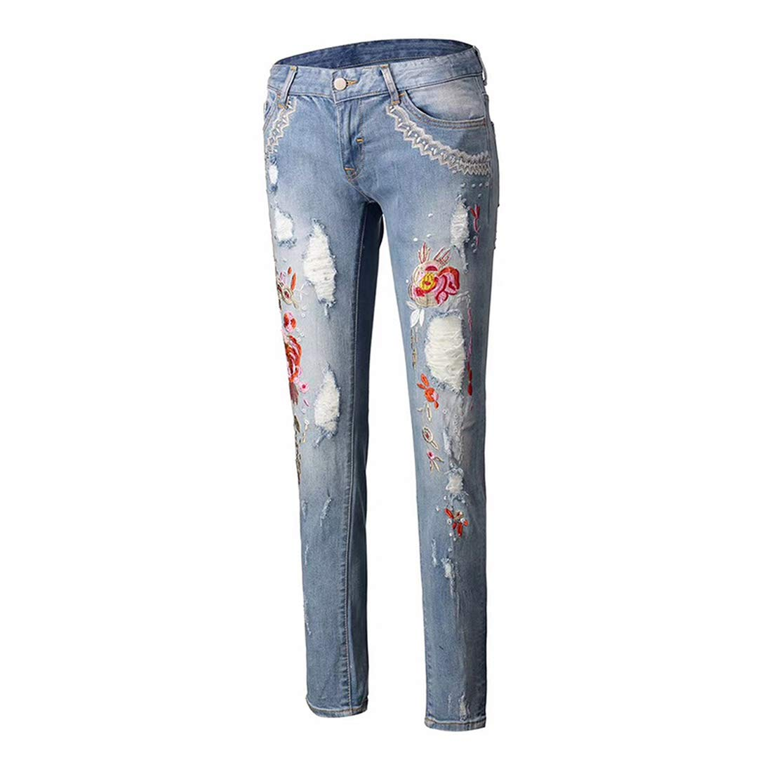 Summer Floral Embroidery Jeans Female Ethnic Autumn Casual Flower Embroidered Jeans Ladies Blue Hot Top