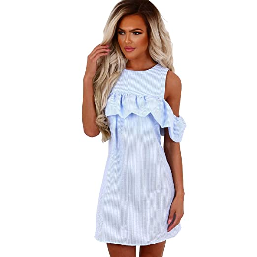 d429c82e0bcb Striped Dresses for Women Sexy Casual Summer Off Shoulder Beach Dress Short  Sleeves Size S Color