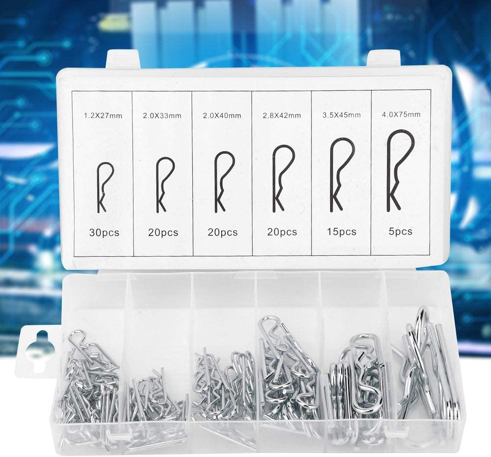 110PCS Cotter Pin Assortment Kit R-Type Stainless Steel Wave Cotter Pin Galvanized Cotter Pin Hand Operated Tools Accessory