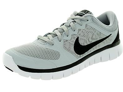 1fb16a5c5748 Nike Kids Flex 2015 Rn (GS) Wolf Grey Black White Running Shoe 4.5