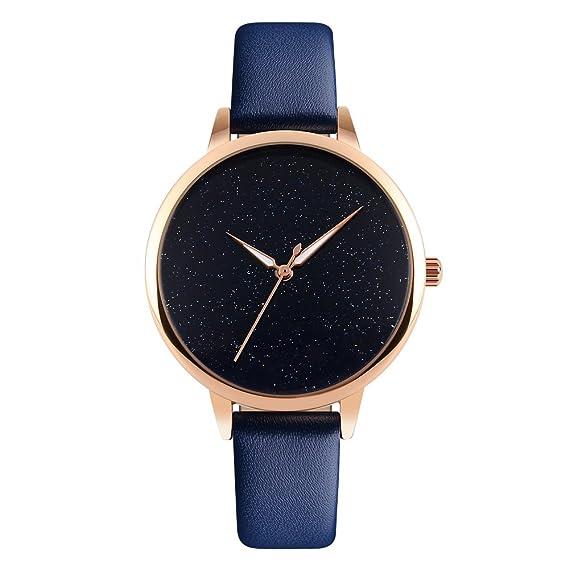 Marca de lujo para mujer relojes piel banda reloj de cuarzo mujer, resistente al agua oro rosa señoras muñeca relojes niñas: Amazon.es: Relojes