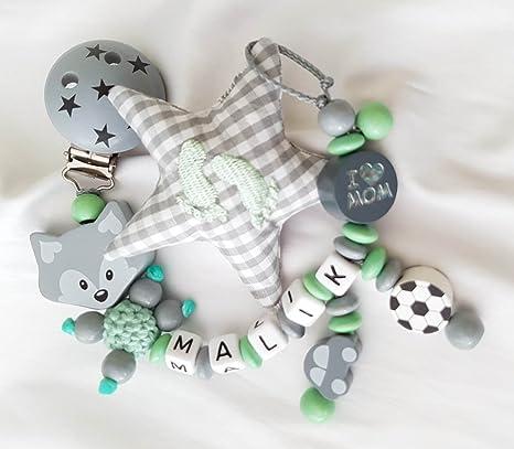 Baby Chupete Cadena zorro para niño con nombres - Niños ...