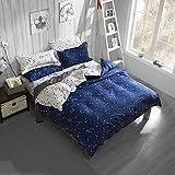 Zhiyuan Constellation Blue & White Duvet Cover Flat Sheet Pillowcases Set, Queen