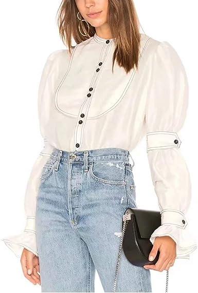 Cuello Alto con Botones Camisa sólida Manga Larga de Puff Blusa de Mujer Elegante (Color : White, Size : S): Amazon.es: Ropa y accesorios