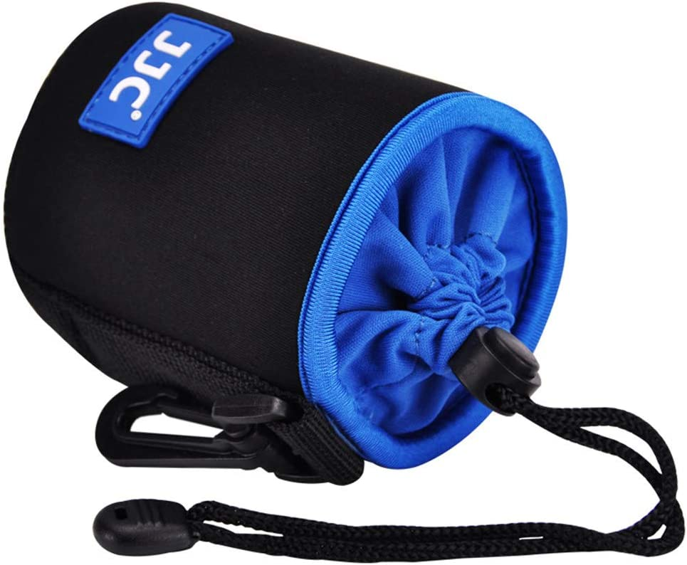 Soft Neoprene Drawstring Lens Pouch Case Bag for Canon EF 50mm/ EF-M 18-55mm/ EF-S 18-55mm/ Sony 16-50mm/ Nikon 18-55mm Fujifilm 18-55mm Olympus Panasonic,Fits Lenses up to 2.9 x 3.9 D x L