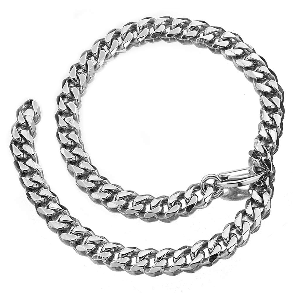 Jxlepe Cuban Link Chain XXXT Adjustable Choker Leash Hip Hop Miami 15mm Big Stainless Steel Curb Necklace for Men (24)