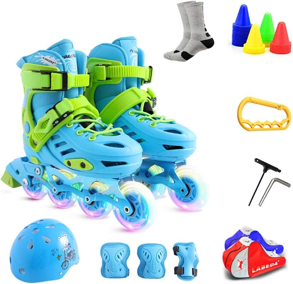 ストレートローラースケート、女の子初心者の調整、ピンクとブルーの子供のフルセット (Color : 青, Size : S(EU26-29)) 青 S(EU26-29)