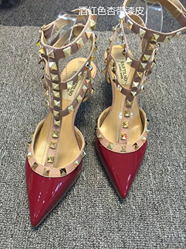 VIVIOO Tacones altos Sandalias de tacón alto Remaches Tacones con punta T-Straps Zapatos de tacón bajo Sandalias de uñas 6.5cm wine red A