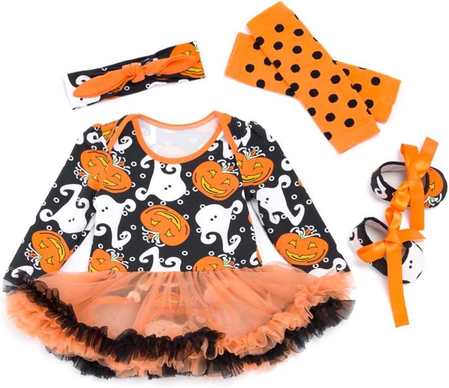 Amosfun 4pcs Baby Girl Halloween Pumpkin Ghost Cosplay Disfraz ...