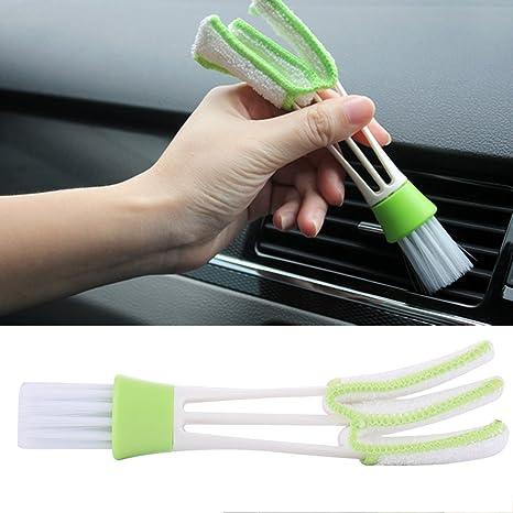 2pcs polvo cepillo de limpieza, portátil de doble cabeza de microfibra limpiador de Vent para