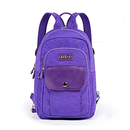 8efda0792f88 Amazon.com  CJH Mini Shoulder Bag Female Waterproof Travel Canvas Small  Backpack Casual Large Capacity Chest Bag Female Dual-use Tide Bag Dark  Purple  ...