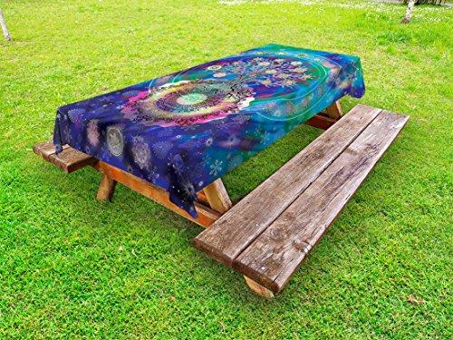 Lunarable Mandala Outdoor Tablecloth, Tree of Life Floral Style Mandala Spiritual Artwork Meditation Peace Spa Design, Decorative Washable Picnic Table Cloth, 58 X 84 inches, Blue Purple by Lunarable