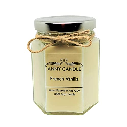 Amazon Com Anny Candle French Vanilla Scented 6 Oz Hexagon Jar Candle 100 Soy Wax Handmade