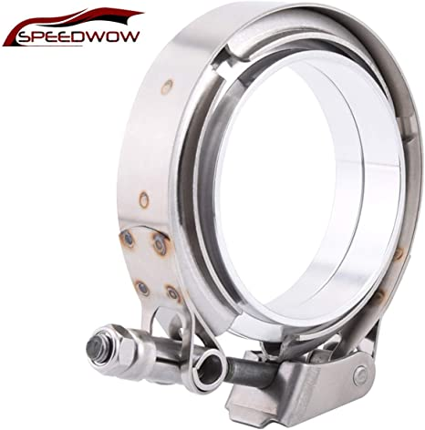SPEEDWOW 2.5 V Band Clamp Exhaust Flange Quick Release 304 Stainless Steel 2 Pcs