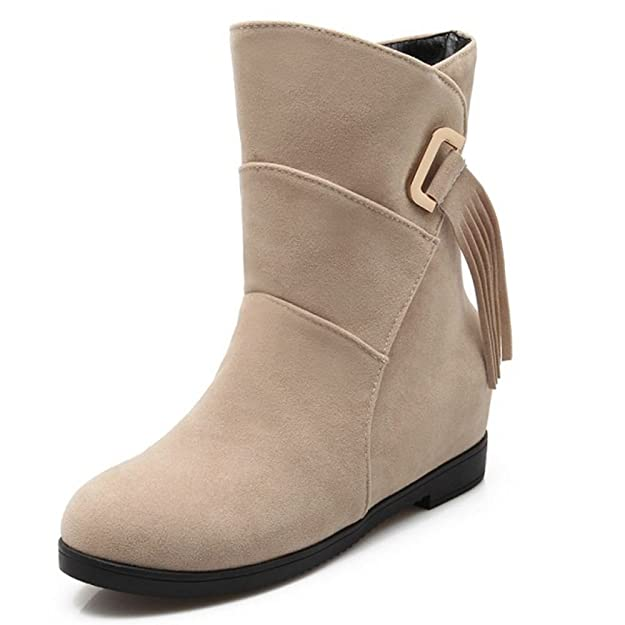 Amazon.com | TAOFFEN Women Casual Hidden Heels Autumn Winter Shoes Mid Top Boots | Boots