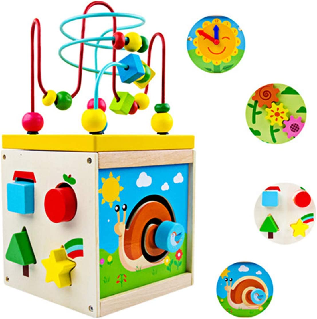 Multipurpose Activity Cube/Center Bead Maze Shape Sorter Wooden Early Educational Toy Montessori Bead Maze Standing Toy for Preschool Toddler Gift for Girls Boys Aged 3 4 5 6