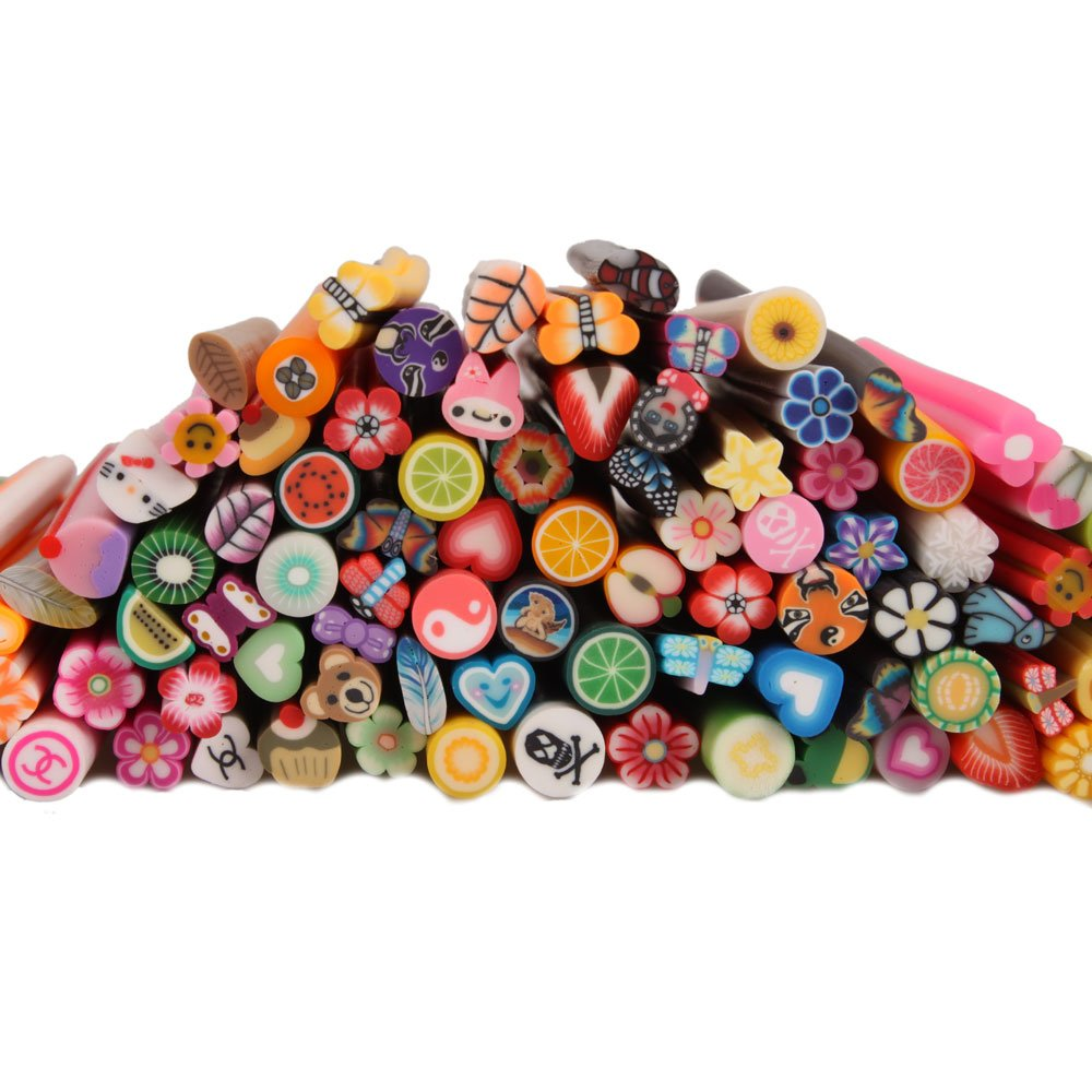 Yesurprise 100pcs 3D Designs Cute Nail Art Manicure Fimo Canes Sticks Rods Stickers Decorations.