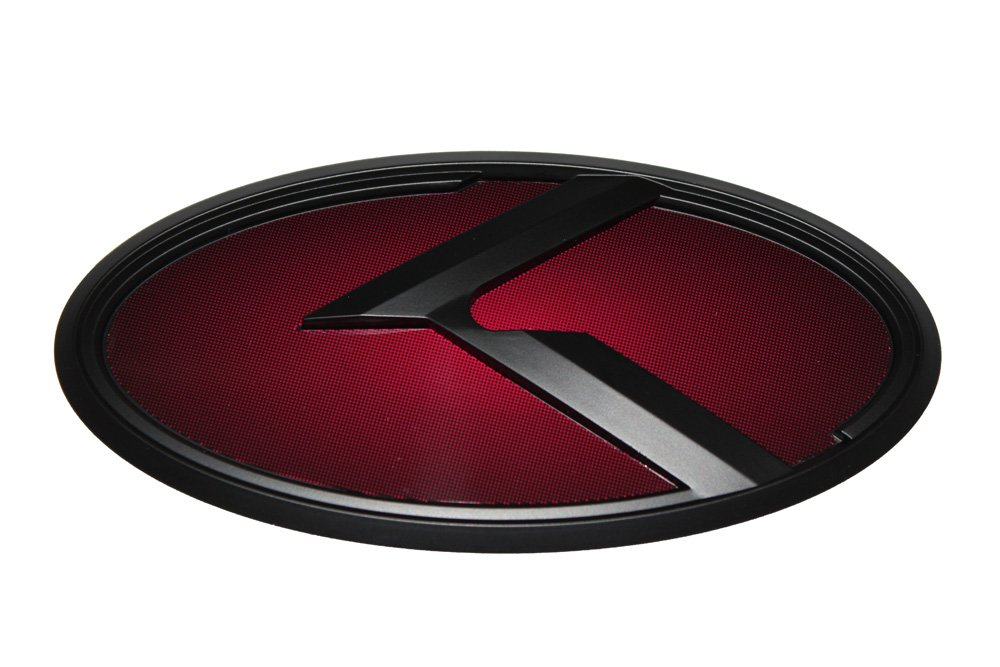 Wheel Cap 3D K Logo Emblem Red /& Black Edition Set 8pc Front Mini Sticker Fits: KIA 2018+ Stinger Steering Wheel Rear