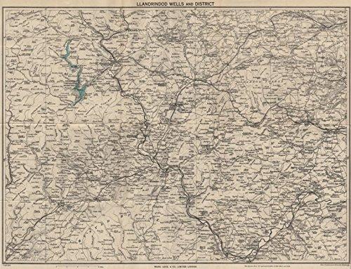 - BUILTH & LLANDRINDOD WELLS. Rhayader Presteigne Knighton Radnor Forest - 1953 - old map - antique map - vintage map - Wales maps
