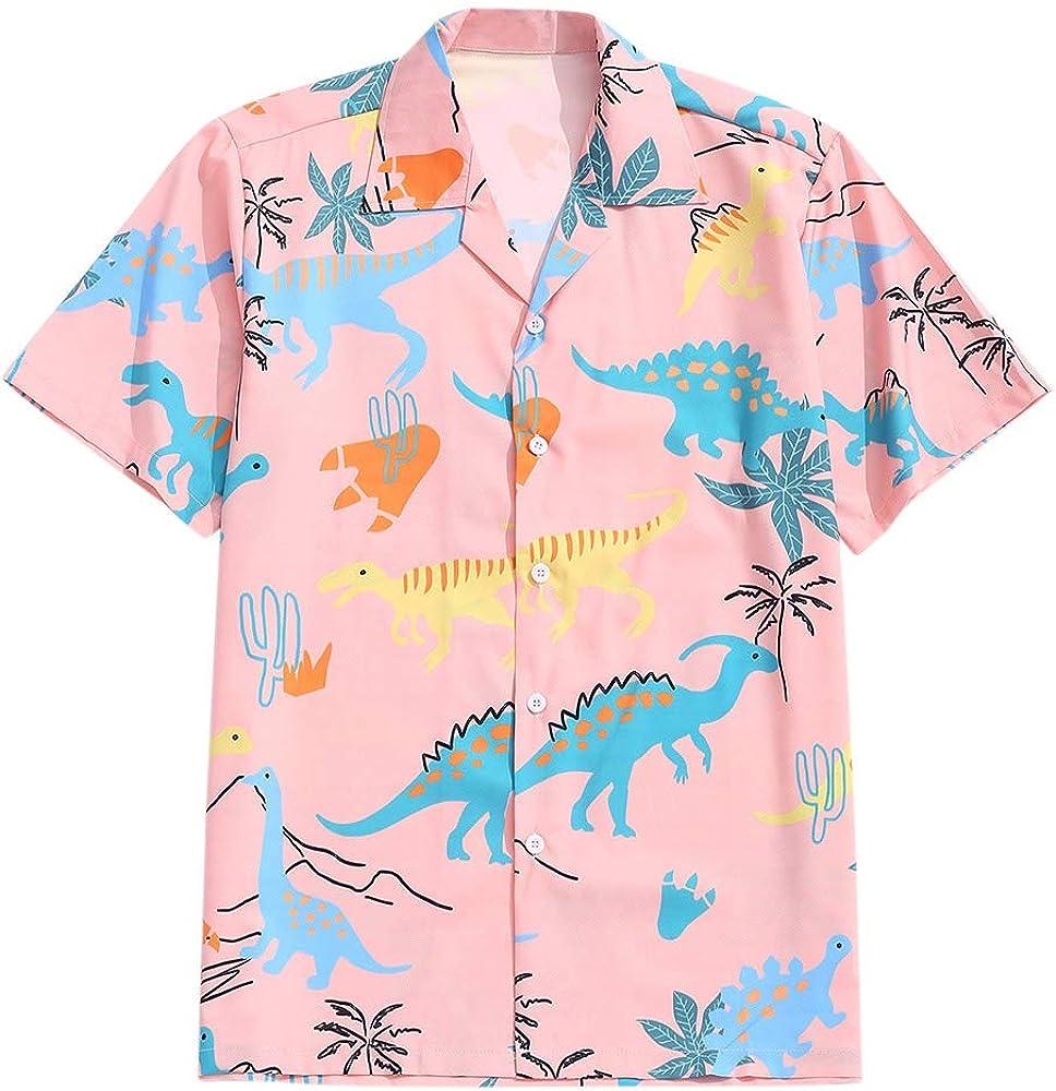 ZAFUL Men's Casual Short Sleeves Animal Dinosaur Print Shirt Button Up Shirt