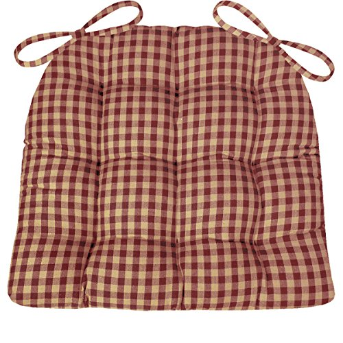"Dining Chair Pad with Ties - Red & Tan Checkers 1/4"" Check - Size Extra-Large - Reversible, Latex Foam Fill - Tufted Seat Cushion"