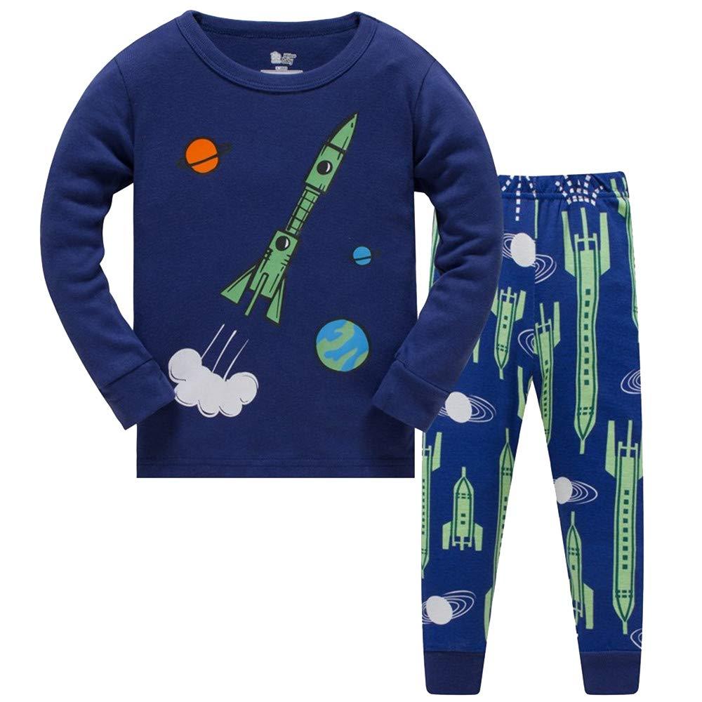 Pyjama Garçon Enfant pour Garçon Fusée De Noël Vêtements De Nuit Vêtements De Nuit À Manches Longues Pjs Ensembles de Pyjama pour Enfants Enfant 3-4 Ans 4T