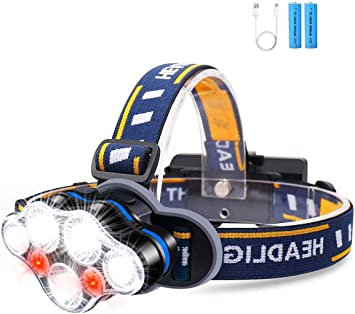 HFAN Headlight 1X White USB Rechargeable LED Headlamp Head Torch 2X Red...