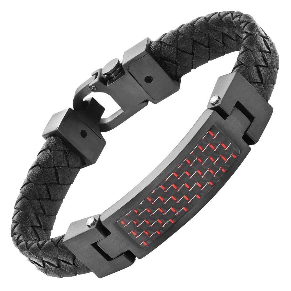 Mens Black Leather Red Carbon Fiber Bracelet Engraved I Love You in Gift Box By Willis Judd