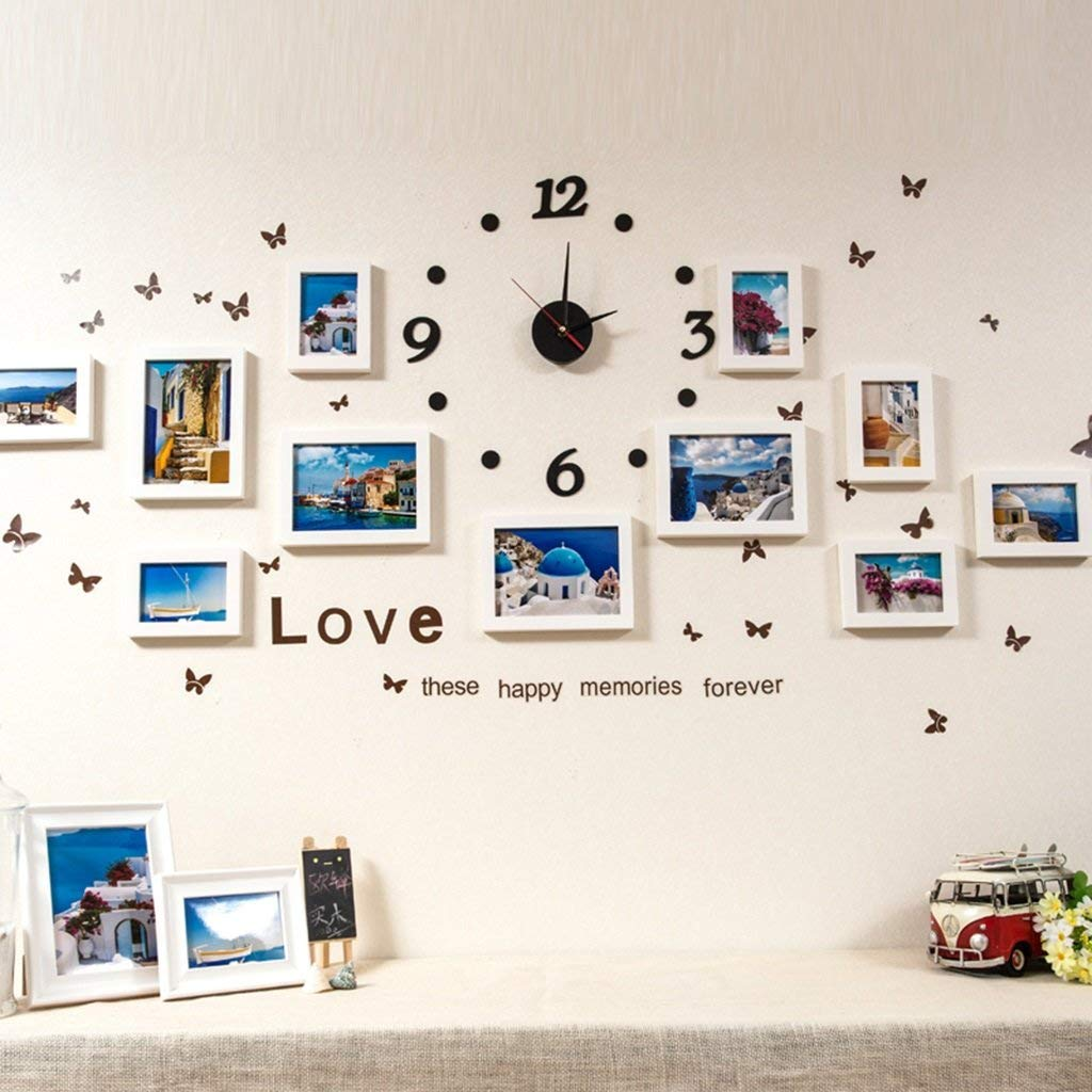 Der Photo Wall Combination of Solid Wood Fashion Creative Wall Stickers Hanging Painting Wall Background Wall Clock Photo Wall Photo Frame Home Decoration (Color : D)