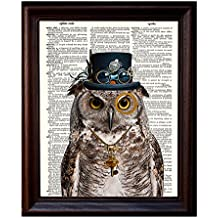 """Dictionary Art Print - Steampunk Owl """"Sir Oliver Owlfeather"""" with Top Hat and Goggles and Skeleton Key - Printed on Recycled Vintage Dictionary Paper - 8""""x11"""" - Mixed Media Poster on Vintage Dictionary Page"""