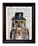 Dictionary Art Print - Steampunk Owl ''Sir Oliver Owlfeather'' with Top Hat and Goggles and Skeleton Key - Printed on Recycled Vintage Dictionary Paper - 8''x11'' - Mixed Media Poster on Vintage Dictionary Page