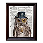 """Dictionary Art Print - Steampunk Owl """"Sir Oliver Owlfeather"""" with Top Hat and Goggles and Skeleton Key - Printed on Recycled Vintage Dictionary Paper - 8""""x11"""" - Mixed Media Poster on Vintage Dictionary Page 6"""
