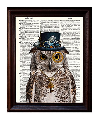 Dictionary Art Print   Steampunk Owl  Sir Oliver Owlfeather  With Top Hat And Goggles And Skeleton Key   Printed On Recycled Vintage Dictionary Paper   8 X11    Mixed Media Poster On Vintage Dictionary Page