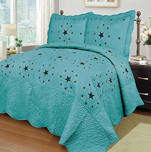 Quilted Bedding Collection (Fancy Collection 3pc California King Size Quilted Embroidery Bedspread Set Western Lone Star Turquoise New)