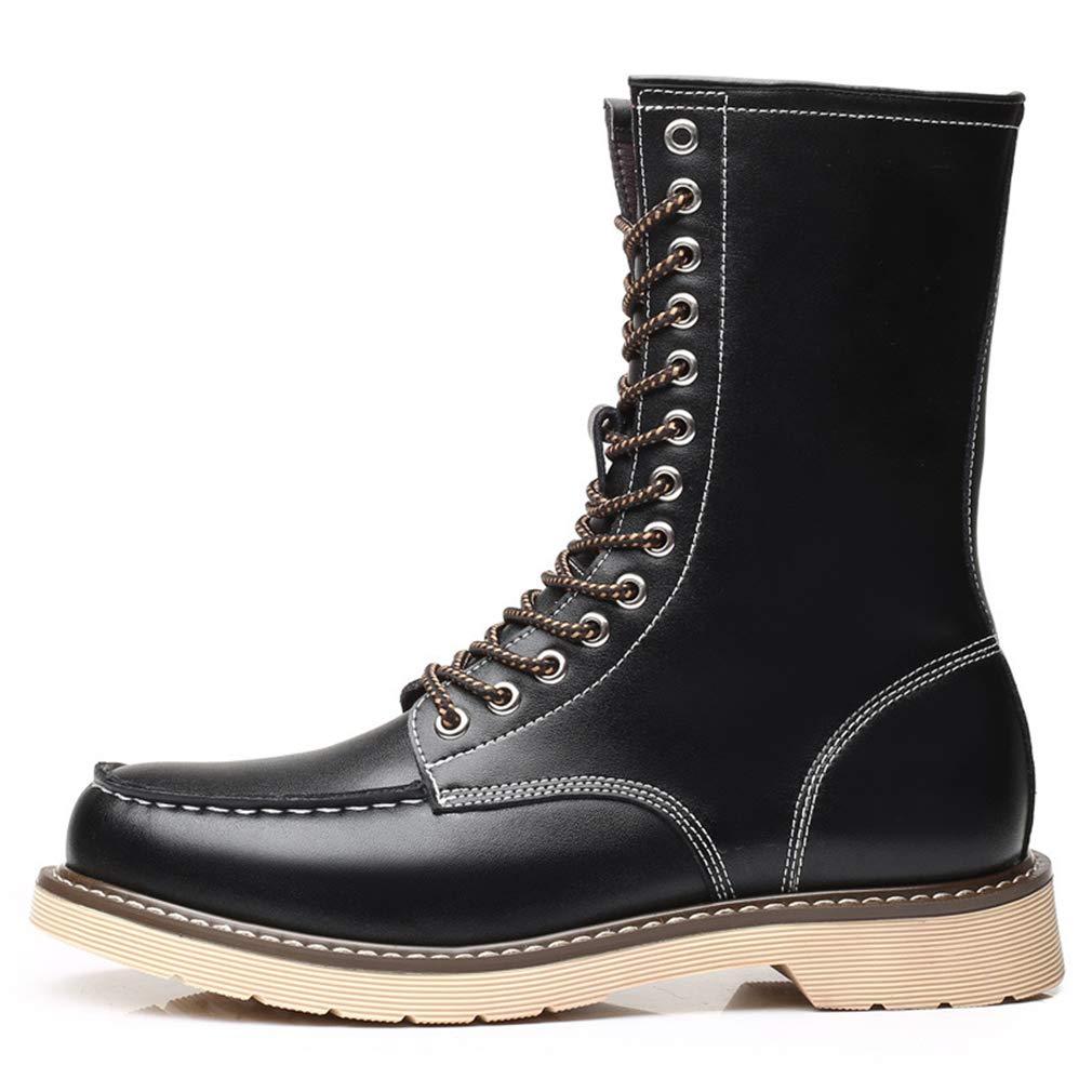 YAN Herrenschuhe Leder Spring & Fall Knight Stiefel Oxford Bottom Stiefel Spitze High-Top-Lederstiefel Gelb Schwarz-Braun,schwarz,41
